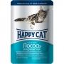 Happy Cat пауч для кошек с кусочками лосося и креветок в желе