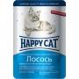 Happy Cat пауч для кошек с лососем в крем-соусе с зеленью